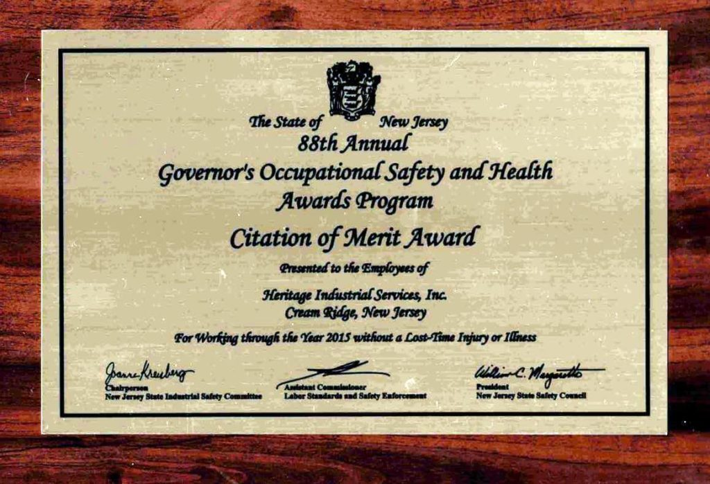 Heritage Industrial Services Earns the Citation of Merit Award for Exemplary Safety Program